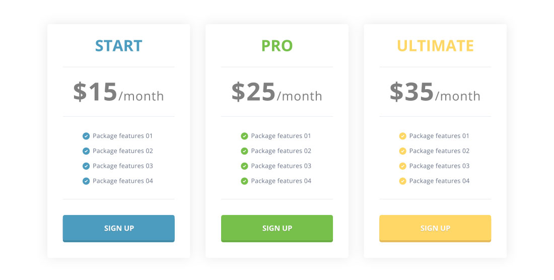 A tiered pricing structure example utilising marketing psychology